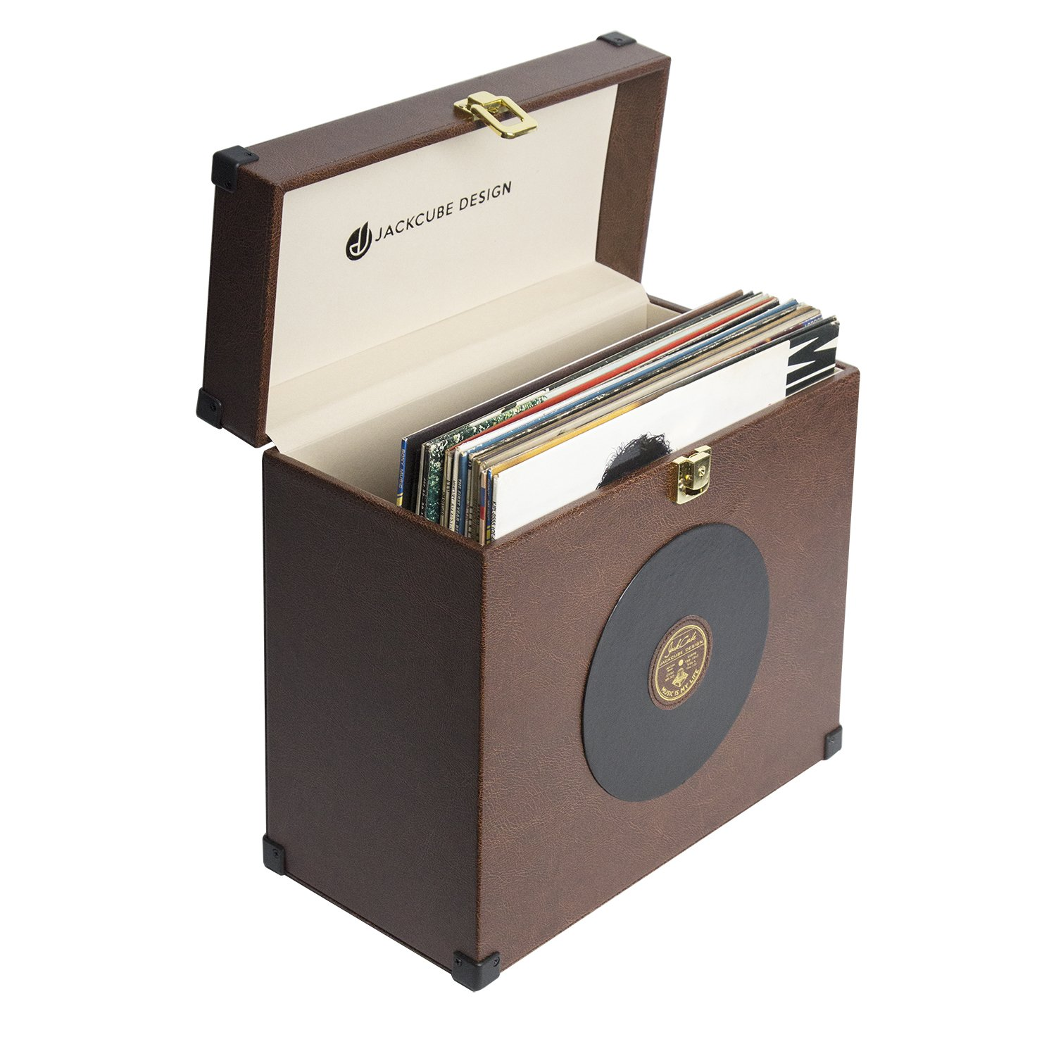 JackCubeDesign Leather LP Vinyl Record Album Storage Case Box Organizer Portable Carrier Display with Gold Metal Knob(Brown, 13.8 x 6.9 x 13.2 inches) – :MK365B