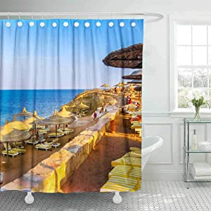 Teepel Luxury Shower Curtain Fabric Shower Curtain House Shower Curtain October Coral Beach Resort Hotel Beach Resort in Sharks Bay Beds 78X72Inch Home Shower Curtain for Bathroom Decor