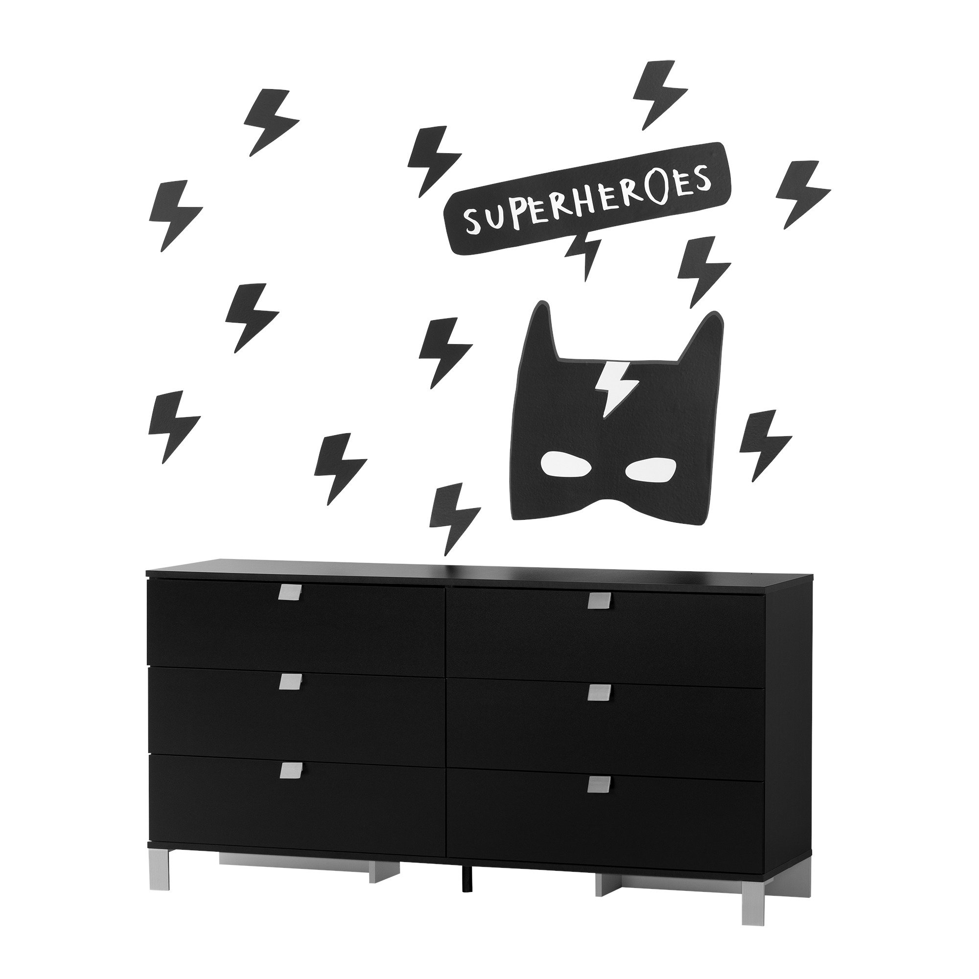 South Shore Spark Pure Black 6-Drawer Double Dresser with Superheroes Wall Decals
