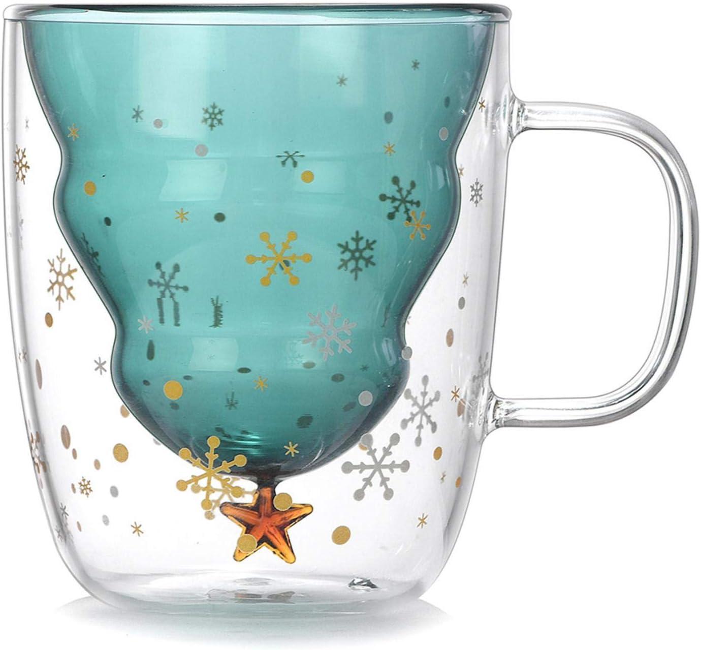 Amazon Com Christmas Tree Glass Cup Merry Christmas Tree With Star Double Wall Glass Coffee Mug For Tea Milk Fruit Juice 8 45oz Kitchen Dining