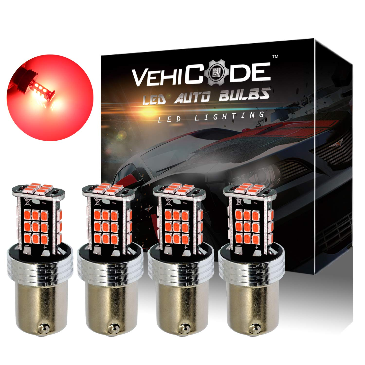 VehiCode Super Bright 1200 Lumens 3157 (3156/3047/3057/3457/3757/4057/4114/T25) LED Light Bulb (Red) Kit - Dual Function Replacement for Tail, Brake Stop Lights (4 Pack)