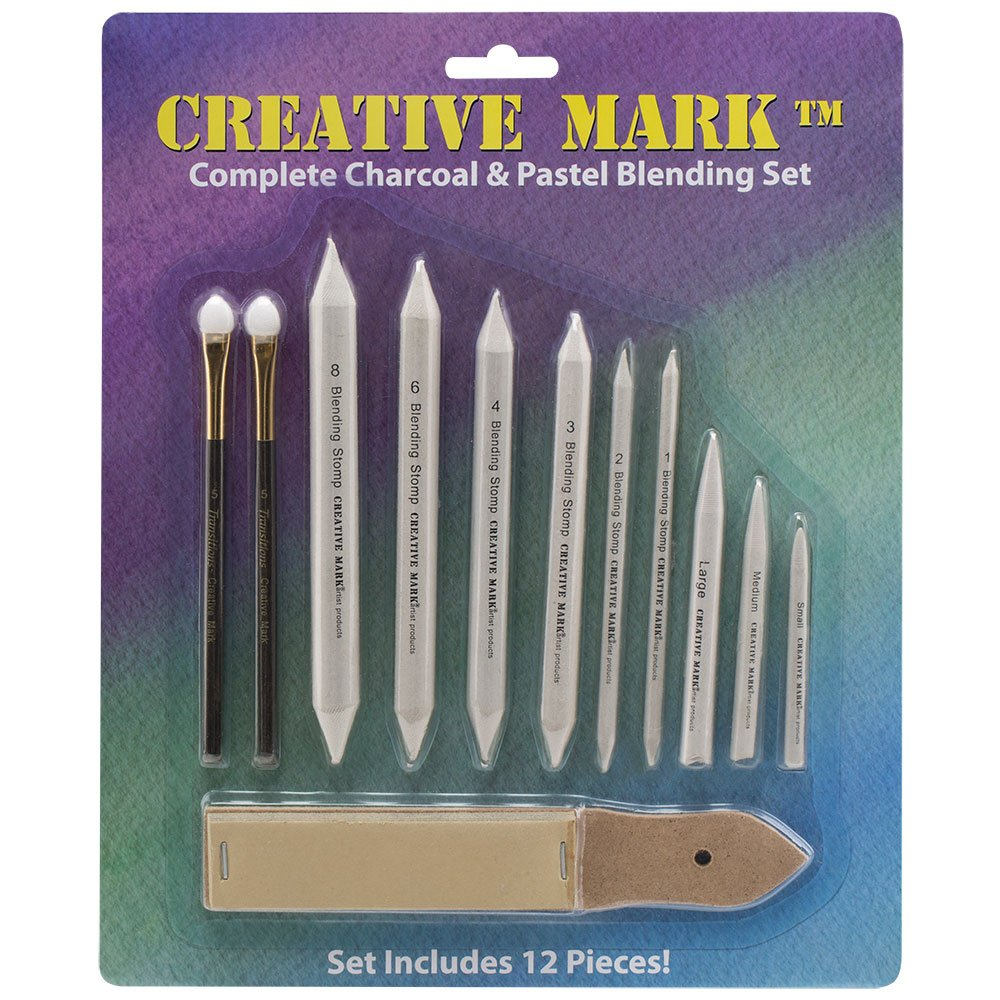 Creative Mark Complete Charcoal and Pastel Blending Set For Drawing Media Charcoal, Pencil, Pastels, Sponge Blenders, Stomps, Tortillions, Sandpaper Pad