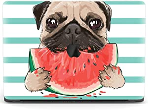 Mertak Hard Case for Apple MacBook Pro 16 Air 13 inch Mac 15 Retina 12 11 2020 2019 2018 2017 Fruit Print Watermelon Touch Bar Plastic Clear Cute Design Cover Pet Dog Summer Laptop Pug Protective