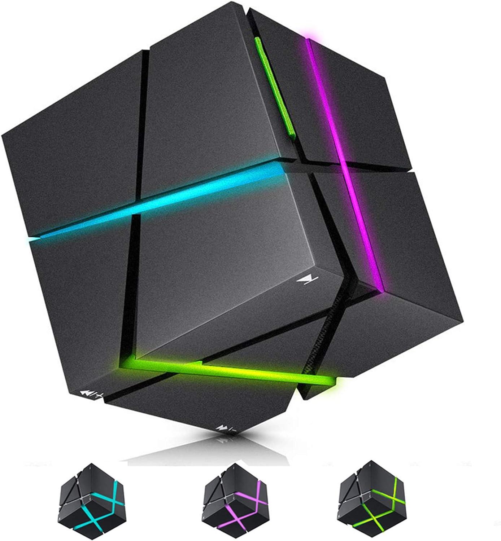 ELEpure - Altavoz Bluetooth portátil con luz LED, sonido Surround TWS 360 °, pequeño altavoz Cube Rubik, compatible con tarjeta TF/FM y conexión inalámbrica para interior o exterior