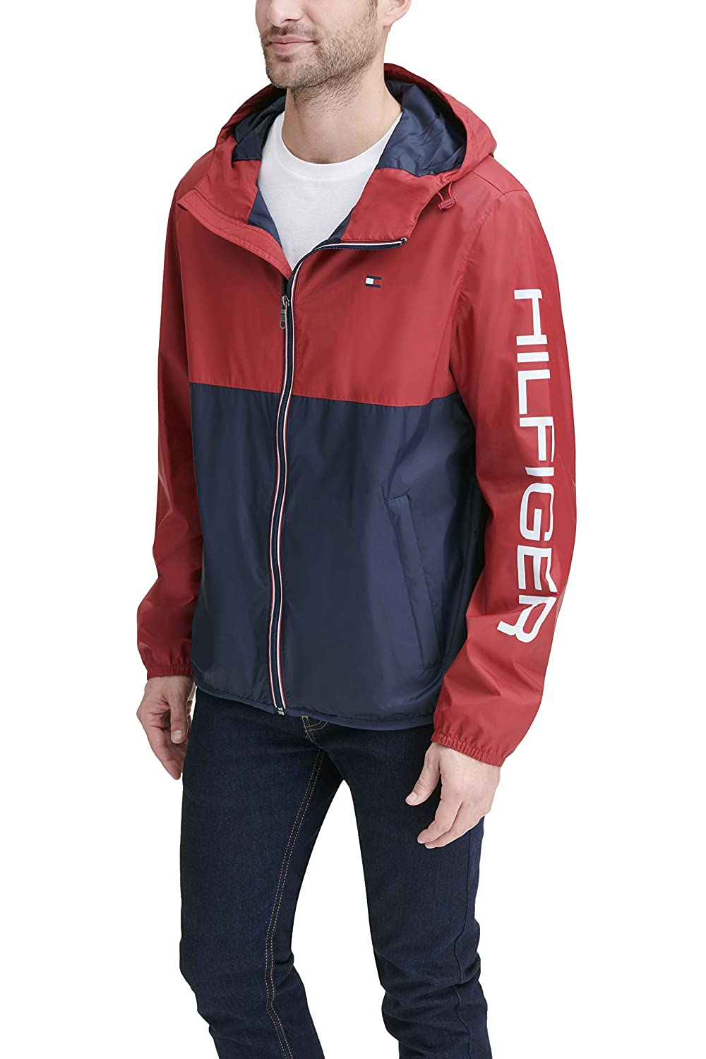 97f304e3 Tommy Hilfiger Mens Colorblocked Logo Rain Slicker Jacket Rain Jacket:  Amazon.ca: Clothing & Accessories