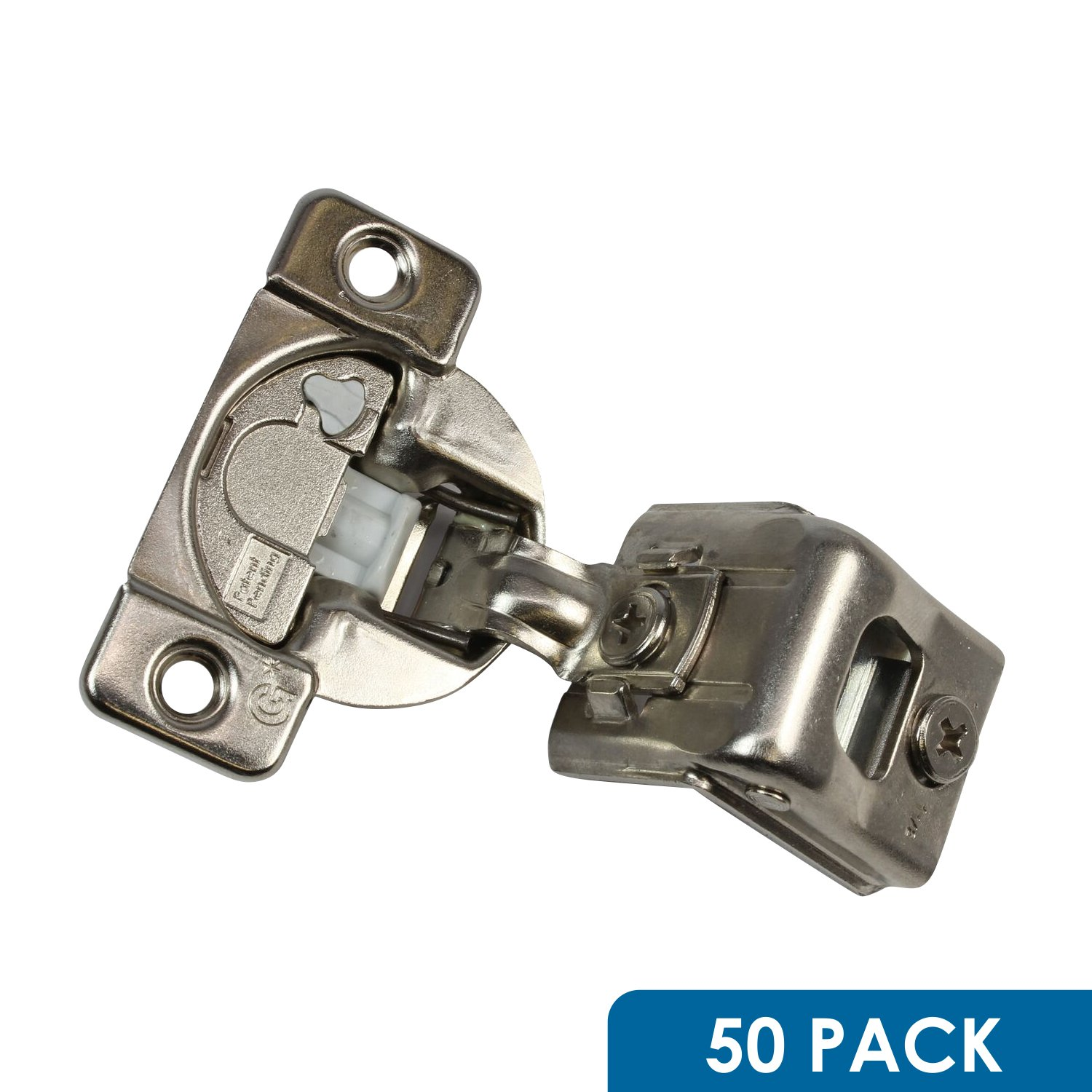 50 Pack Rok Hardware Grass TEC 864 108 Degree 1-1/2'' Overlay 3 Level Soft Close Screw On Compact Cabinet Hinge 04549A-15 3-Way Adjustment 45mm Screw Hole Pattern