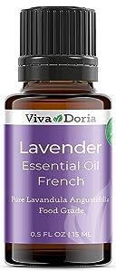 Viva Doria 100% Pure Lavender French Essential Oil, Undiluted, Food Grade, Lavender French oil, 15 mL (0.5 fl oz)