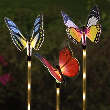 Garden Solar Lights Kearui Automatic Color Changing Butterfly Patio Solar  Butterfly Stakes 3pieces Festival Decoration Butterfly