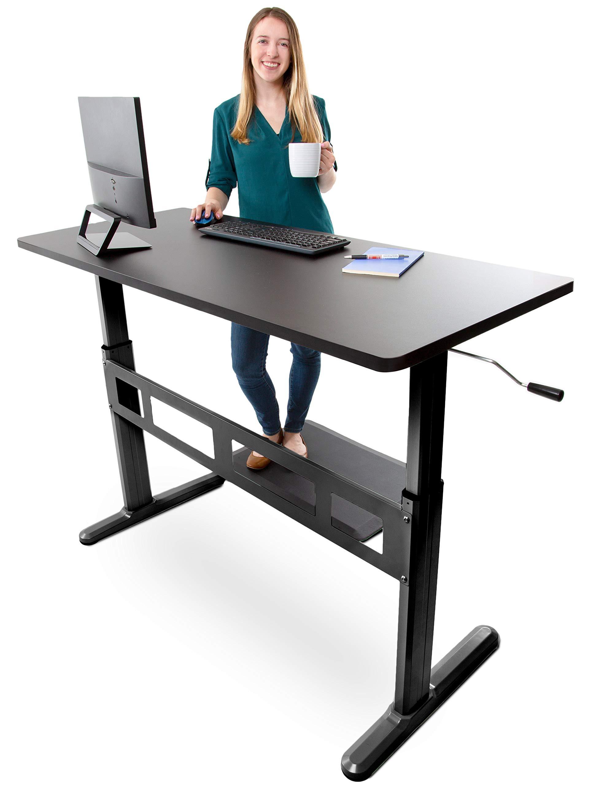 Tranzendesk Standing Desk by Stand Steady | 55 inch Crank Adjustable Stand Up Workstation (Black Top, Black Frame)