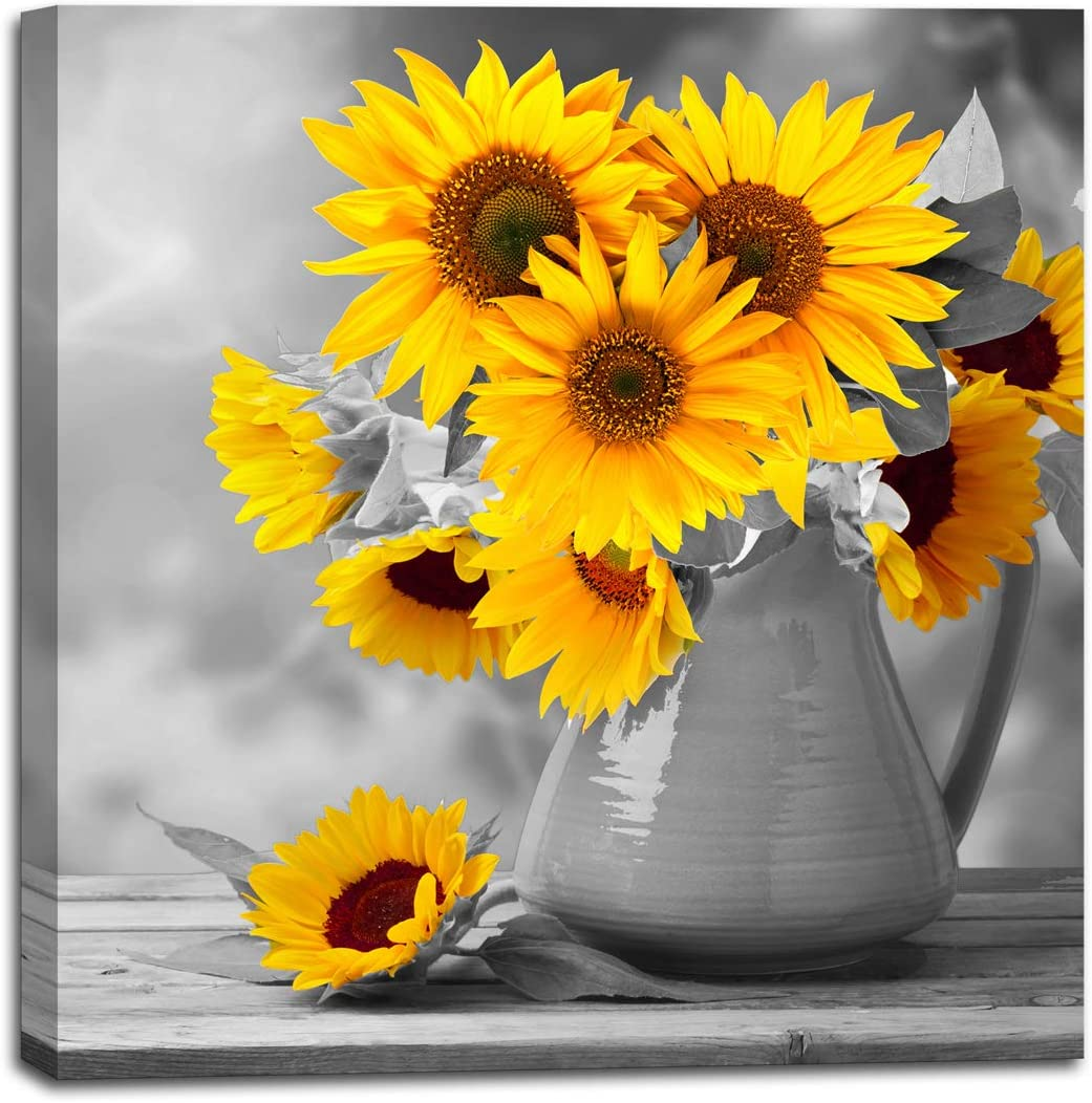 Canvas Artwork Modern Sunflower Wall Decor for Bedroom Bathroom Kithen Wall Decor Black and White Yellow Canvas Art Wall Decoration for Office 1 Piece Canvas Wall Art Set Sunflower Art Picture Framed