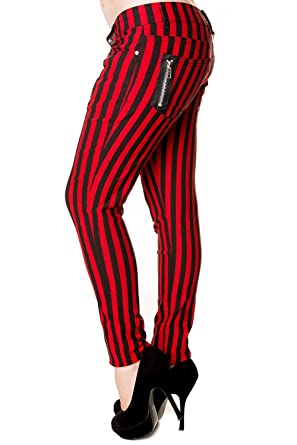 696310924238 Lost Queen Stripe Skinny Jeans - White/Black or Red/Black at Amazon ...