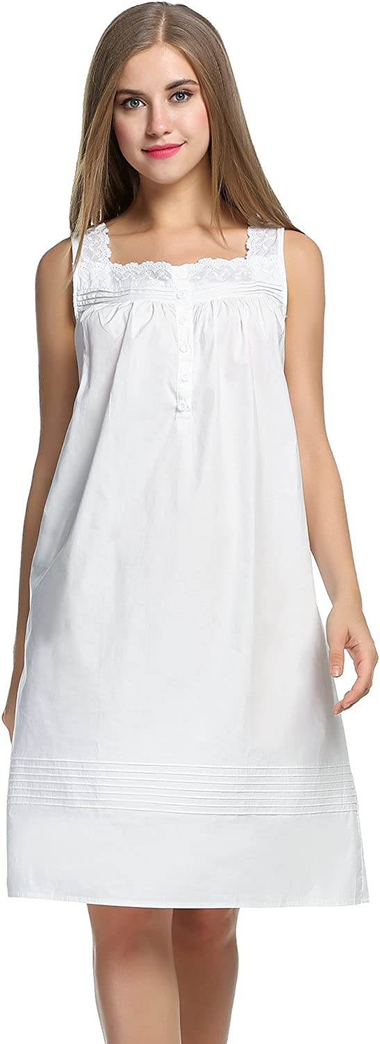 Victorian Lingerie – Underwear, Petticoat, Bloomers, Chemise Hotouch Womens Comfort Cotton Nightshirt Sleeveless Sleepwear Nightgowns S-XXL $20.99 AT vintagedancer.com
