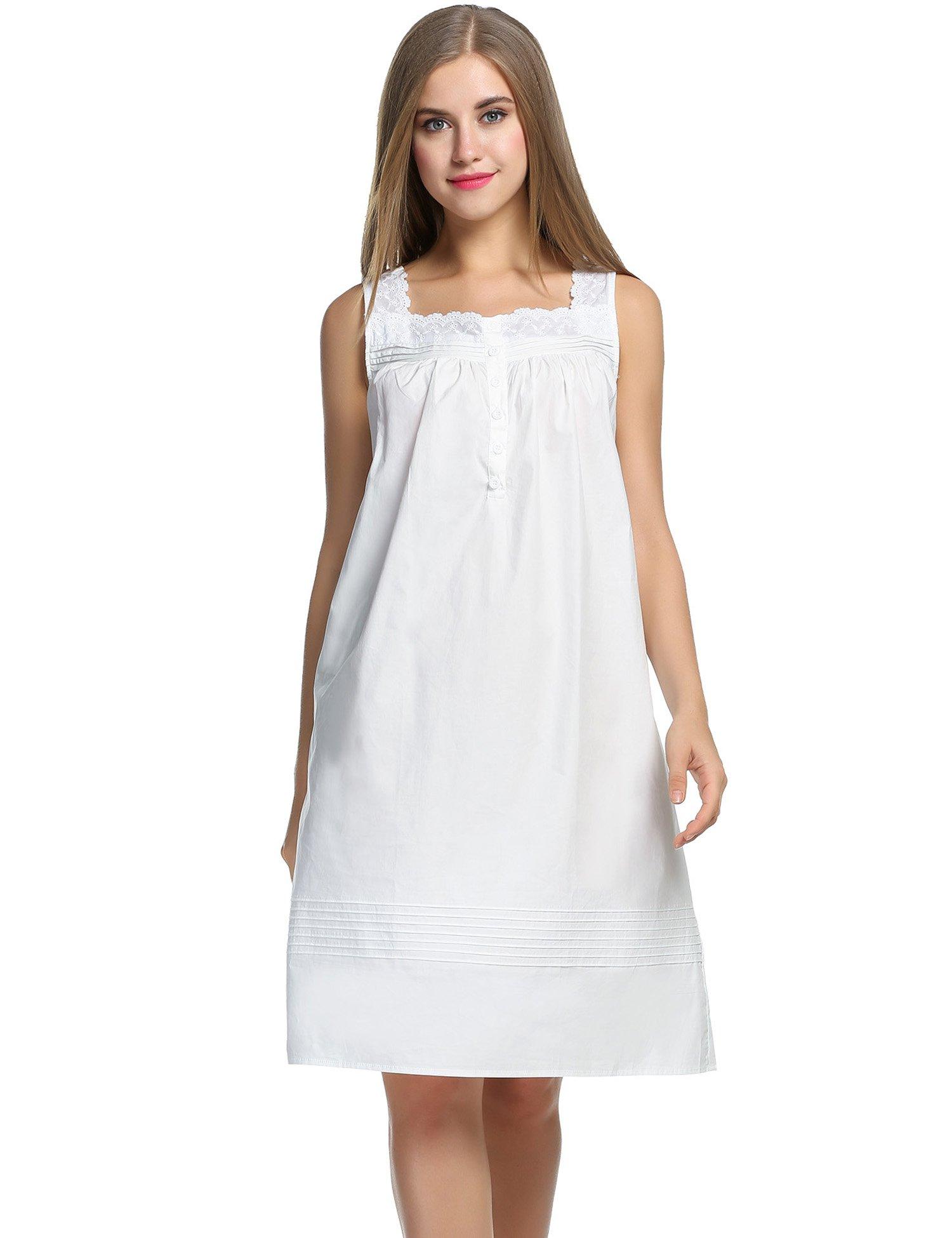 Hotouch Women's Cotton Sleeveless Short Nightgown White XXL