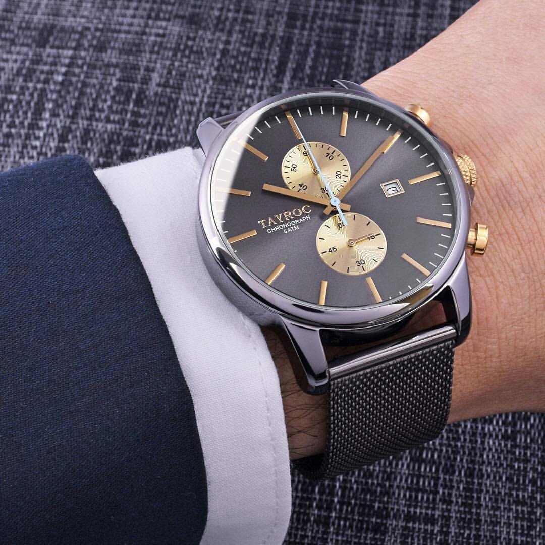 Reloj hombre RELOJ tayroc Iconic Oro Gris Cronógrafo Acero inoxidable Cuarzo Pulsera txm095: Amazon.es: Relojes