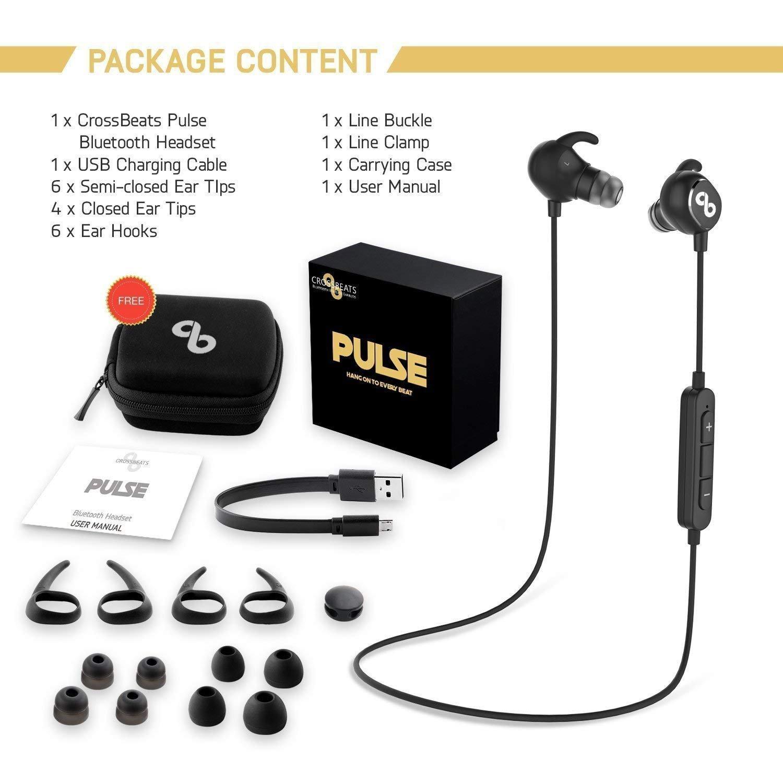 CrossBeats Pulse - Auriculares inalámbricos con Bluetooth IPX-4, resistentes al sudor, 8 horas de reproducción, con funda de transporte, sonido HD, ...