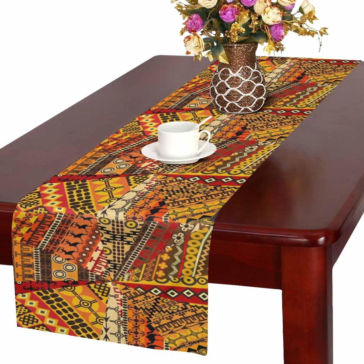 interestprint抽象アフリカマップのエスニック背景テーブルランナーコットンリネン布プレースマットfor Officeキッチンダイニングウェディングパーティー宴会16 x 72インチ 16 x 72 Inches TR0150-E16in  デザイン#5 B07F128T45