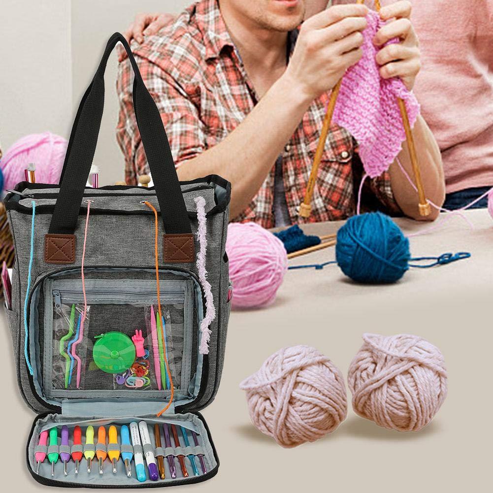 Garn Tote Organizer mit Taschen Teiler f/ür H/äkelnadeln Bulk-Garn-Projekt Stricknadeln Luxus-Stricktasche mit Griff
