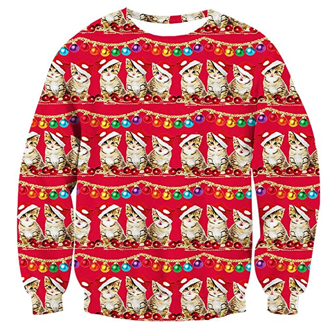 RAISEVERN Unisex Funny Print Ugly Christmas Sweaters Cats & Lights