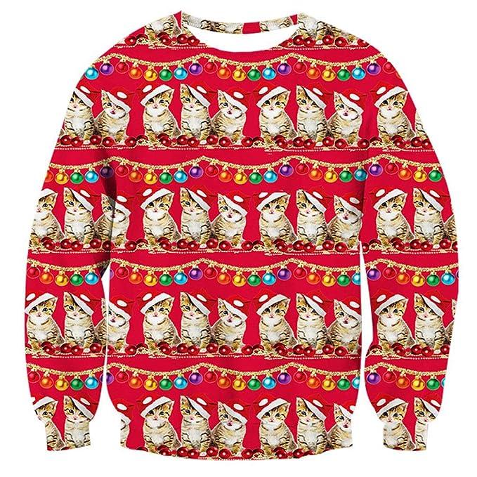 RAISEVERN Unisex Funny Print Ugly Christmas Sweaters Cats & Lights Christmas Sweaters with Cats