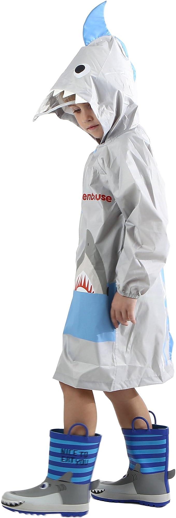 Kids Rain Jacket//Raincoat 3D Shark Lightweight Rainwear for Boy for Girl