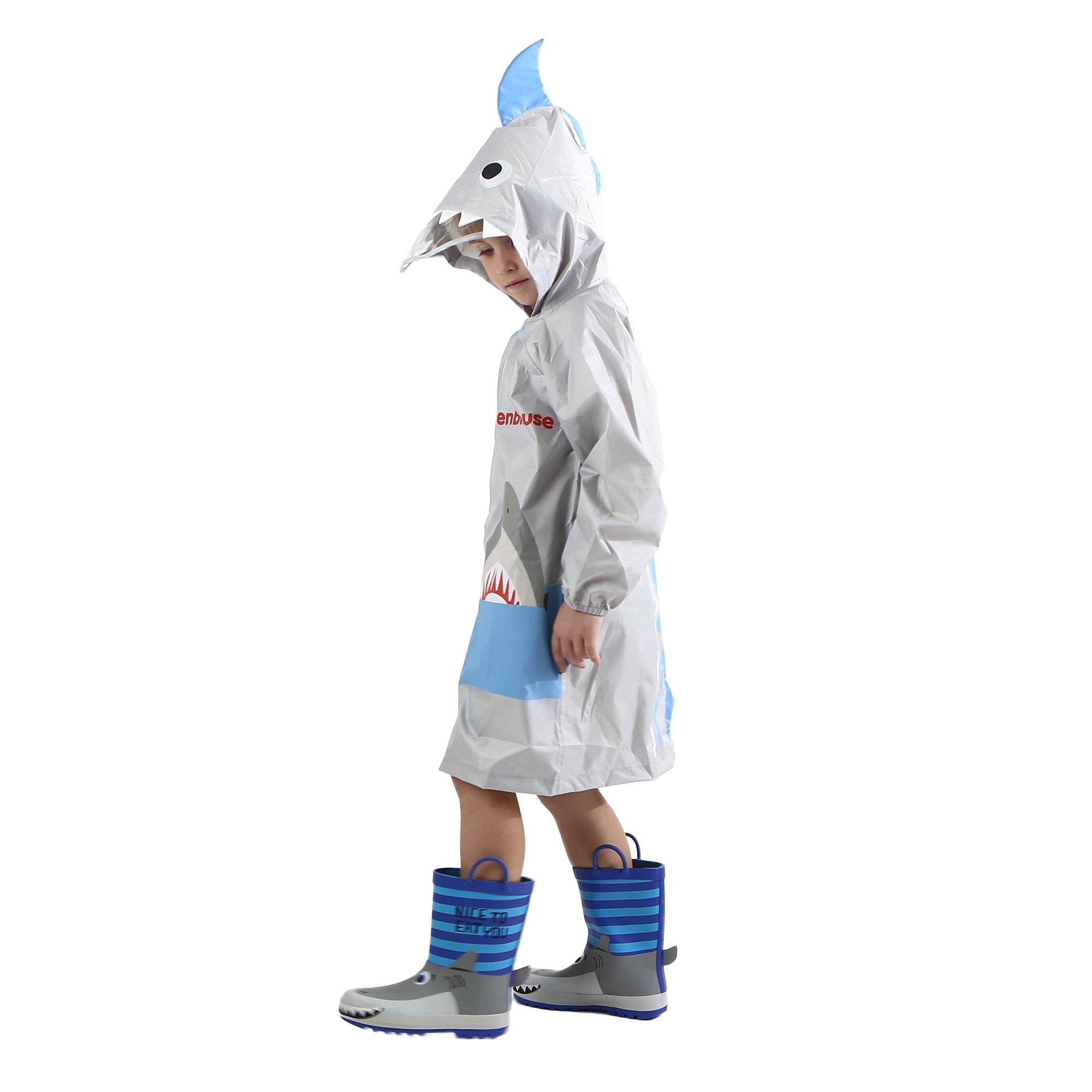 Kid's Rain Jacket/Raincoat 3D Shark Lightweight Rainwear for Boy for Girl Gray