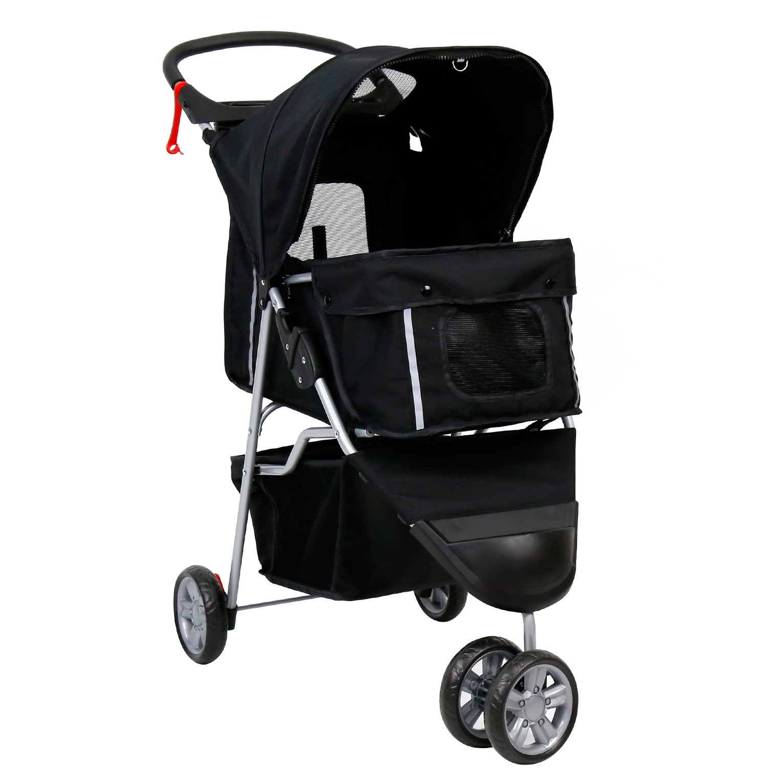 Peach Tree Three Wheel Pet Stroller, for Cat, Dog and More, Foldable Carrier Strolling Cart (Black)