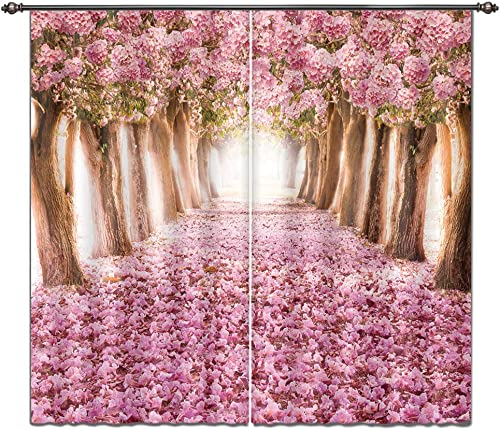 LB Teen Kids Decor Collection,2 Panels Room Darkening Blackout Curtains,Cherry Blossom 3D Effect Print Window Treatment Floral Curtains Living Room Bedroom Window Drapes,80 x 63 Inches