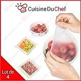 ✮ CuisineDuChef ✮ Films étirables en silicone alimentaire | Lot de 4 | Réutilisables et extensibles | Conservation aliments | Set de couvercles hermétiques | Frigidaire, congélateur, micro-ondes