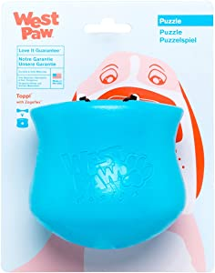 West Paw Zogoflex Toppl Treat Dispensing Dog Toy Puzzle – Interactive Chew Toys for Dogs – Dog Toy for Moderate Chewers, Fetch, Catch – Holds Kibble, Treats, Large, Aqua