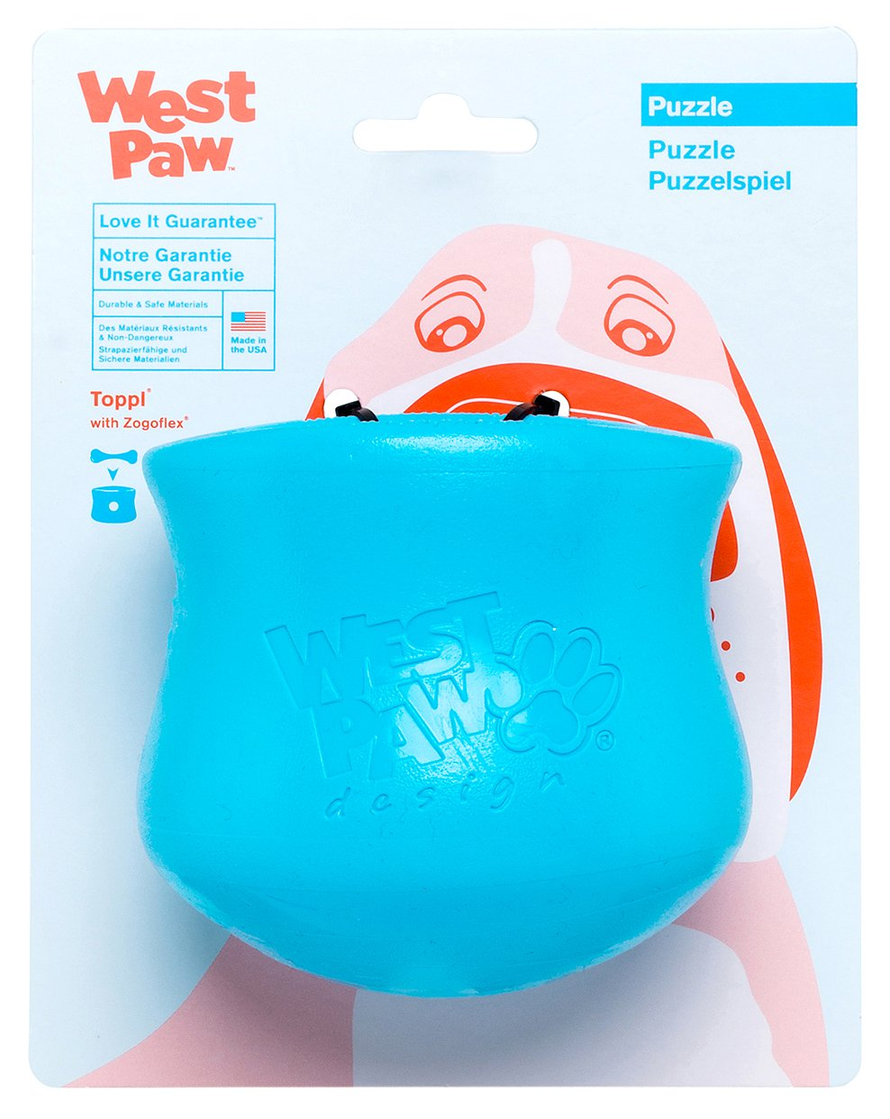 West Paw Toppl Tough Dog Chew Toy Blue (Large)
