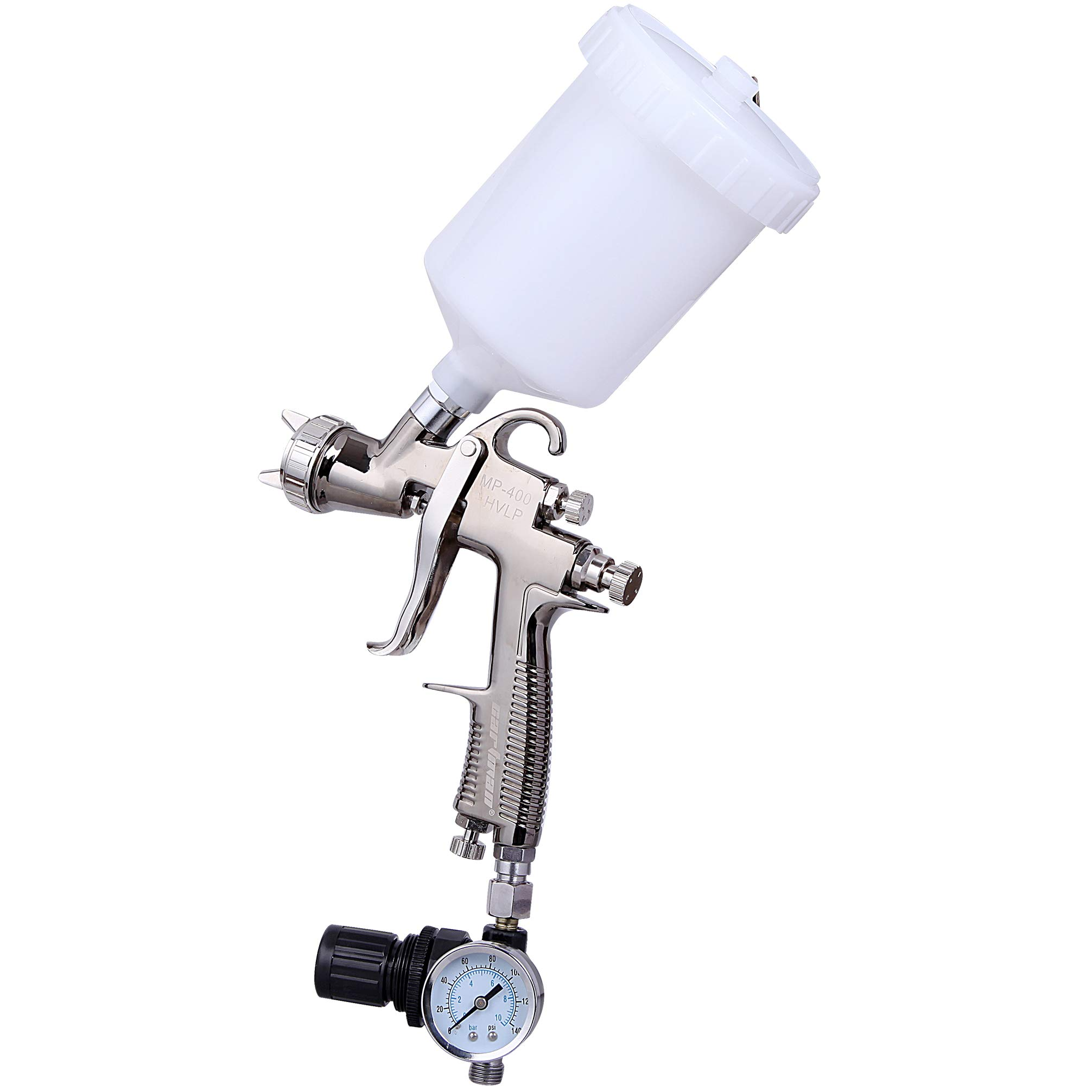 CARTMAN HVLP Gravity Feed Air Spray Gun 20.2 oz Capacity, 4.0-6.0 CFM (Cubic feet per Minute), Optimal Working Pressure 2bar/29psi, Nozzle Size:1.3mm with Air Regulator