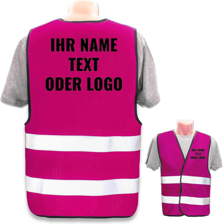 Warnweste mit eigenem Aufdruck selbst gestalten * Bedruckt mit Name Text Bild Logo Firma Position /& Druckart:R/ücken Front//Premium-Druck Farbe /& Gr/ö/ße:Rot//Gr/ö/ße M//L