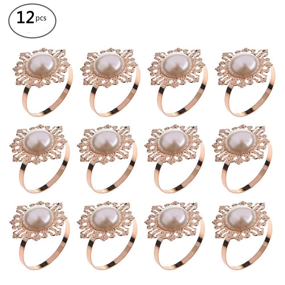 12 PCS Faux Pearl Napkin Ring Round Stretchy Napkin Ring with Elastic for Wedding Birthday Party Table Decoration cheerfullus