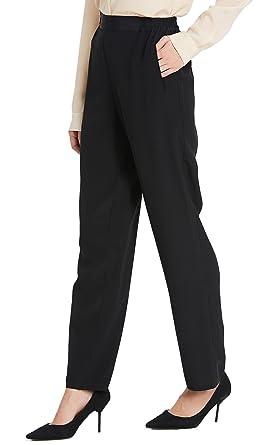 c4e7ea450 LilySilk Women Silk Long Pants Bottoms 18MM Elastic Waist Daily Soft Black  XS 0-