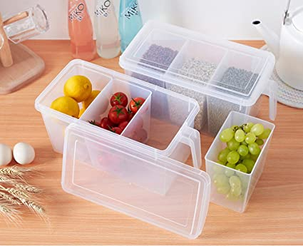 amazon com refrigerator organizer container clear with lid