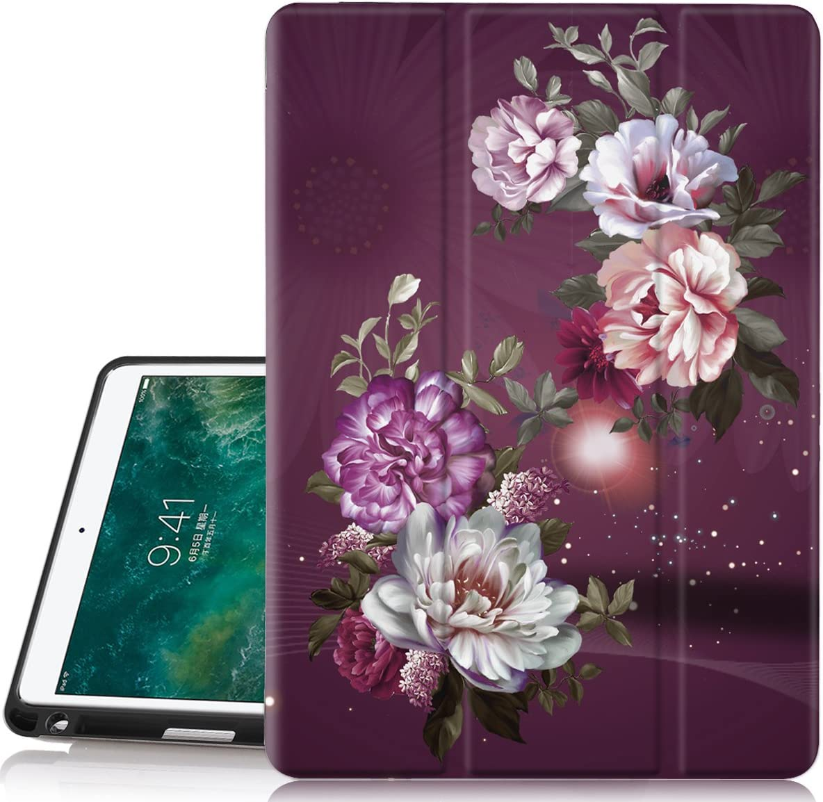 Hocase iPad Air 3rd Gen/iPad Pro 10.5 Case, Trifold Smart Case with Pencil Holder, Unique Pattern Design, Auto Sleep/Wake, Soft Back Cover for iPad A1701/A1709/A2152/A2123/A2153 - Burgundy Flowers