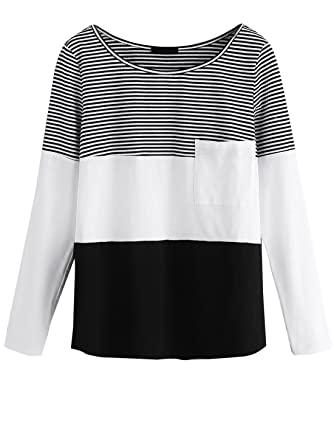 e0c5d0fef8915b ROMWE Damen Streifen Baumwolle Shirt mit Brusttasche Farbblock Oberteil  Langarmshirt Schwarz M