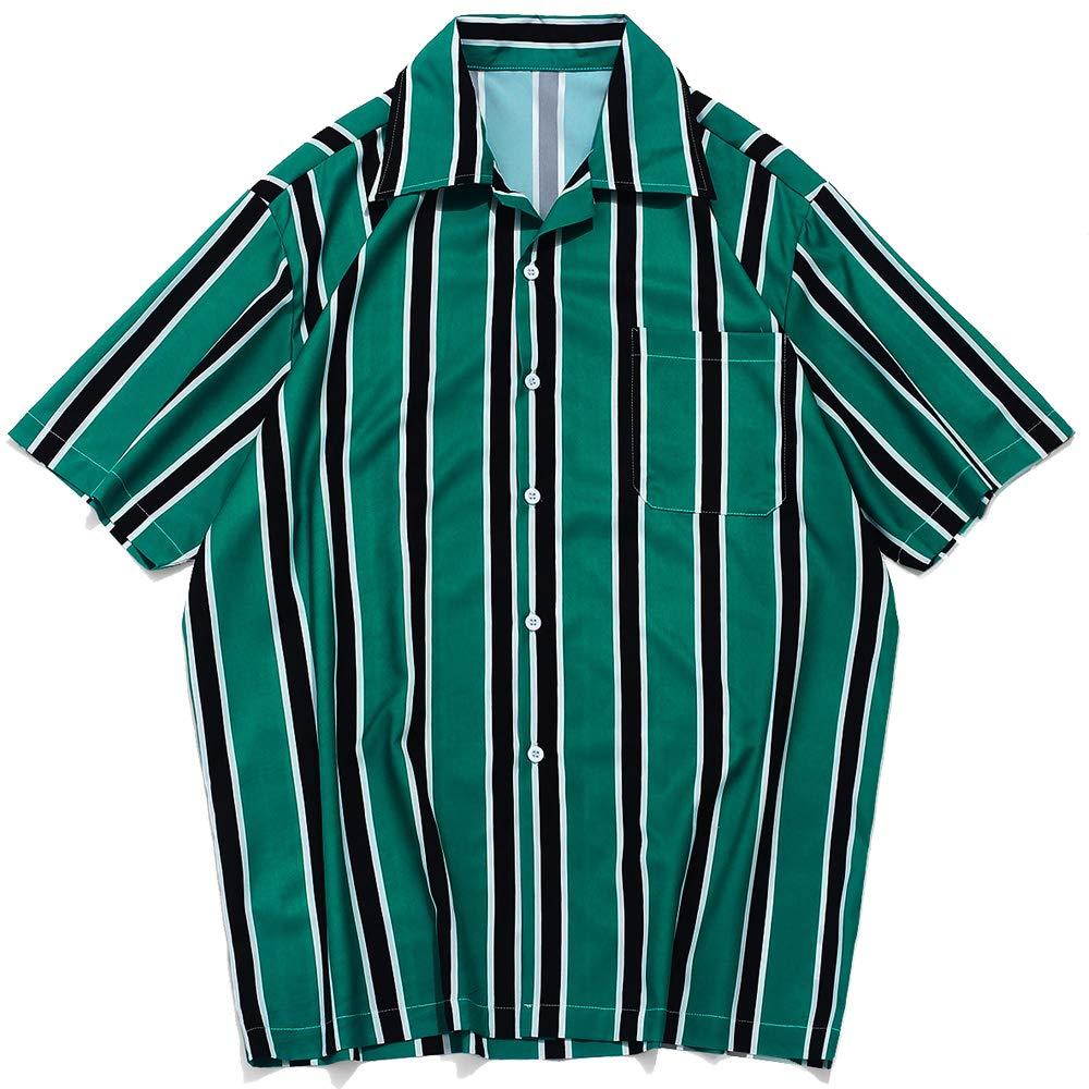 ZAFUL Mens Casual Short Sleeves Stripes Print Regular Fit Button Up Shirt