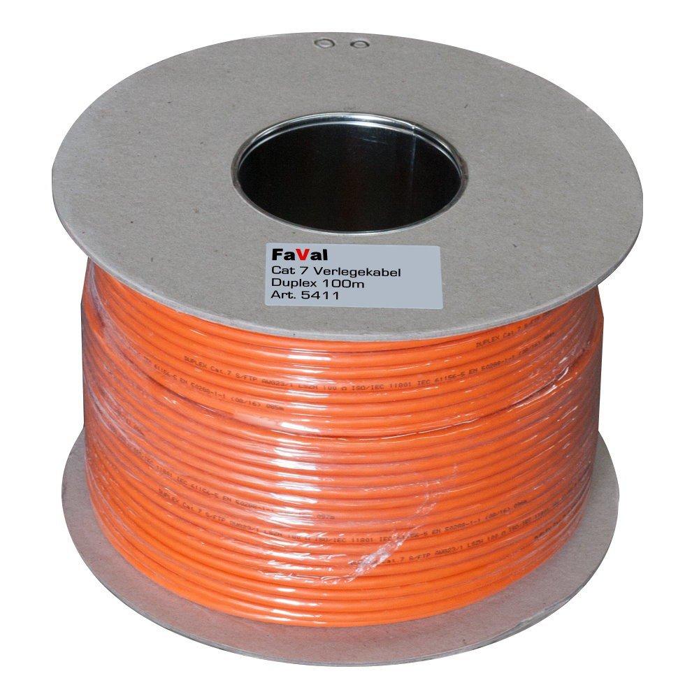 Faval k5411 Cable de instalación Cat7 100 m Duplex Orange ...