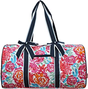QUILTED TOTE BAG TRAVEL TOY STORAGE /& MORE COLOR AQUA//HOT PINK