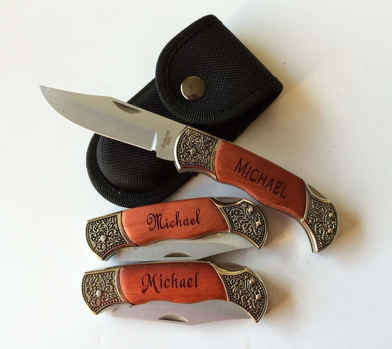 Personalized Laser Engraved Pocket Knife, Fathers Day, Groomsmen Gift, Graduation Gifts, Gifts for Men Free Engraving.