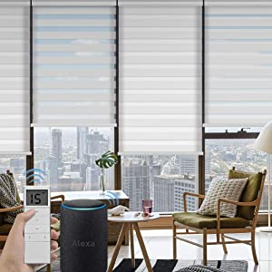 Graywind Motorized Zebra Sheer Blinds Compatible with Alexa Horizontal Light Filtering Window Shades Remote Roller Blinds with Valance for Smart Home and Office, Customized Size, White
