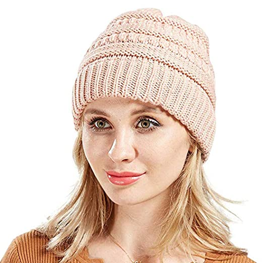 f11f42de7 Winter Beanie for Women Ponytail Hat Women Beanie with Ponytail Hole ...