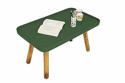 Aprodz Mango Wood Rectangular Tiffany Dark Green Coffee Table For Home Living Room