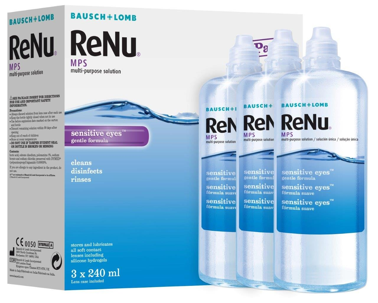 a80ad00a2cd Bausch Lomb ReNu MPS Multi- Purpose Solution for Sensitive Eyes 3x240ml (3  months supply)  Amazon.co.uk  Health   Personal Care