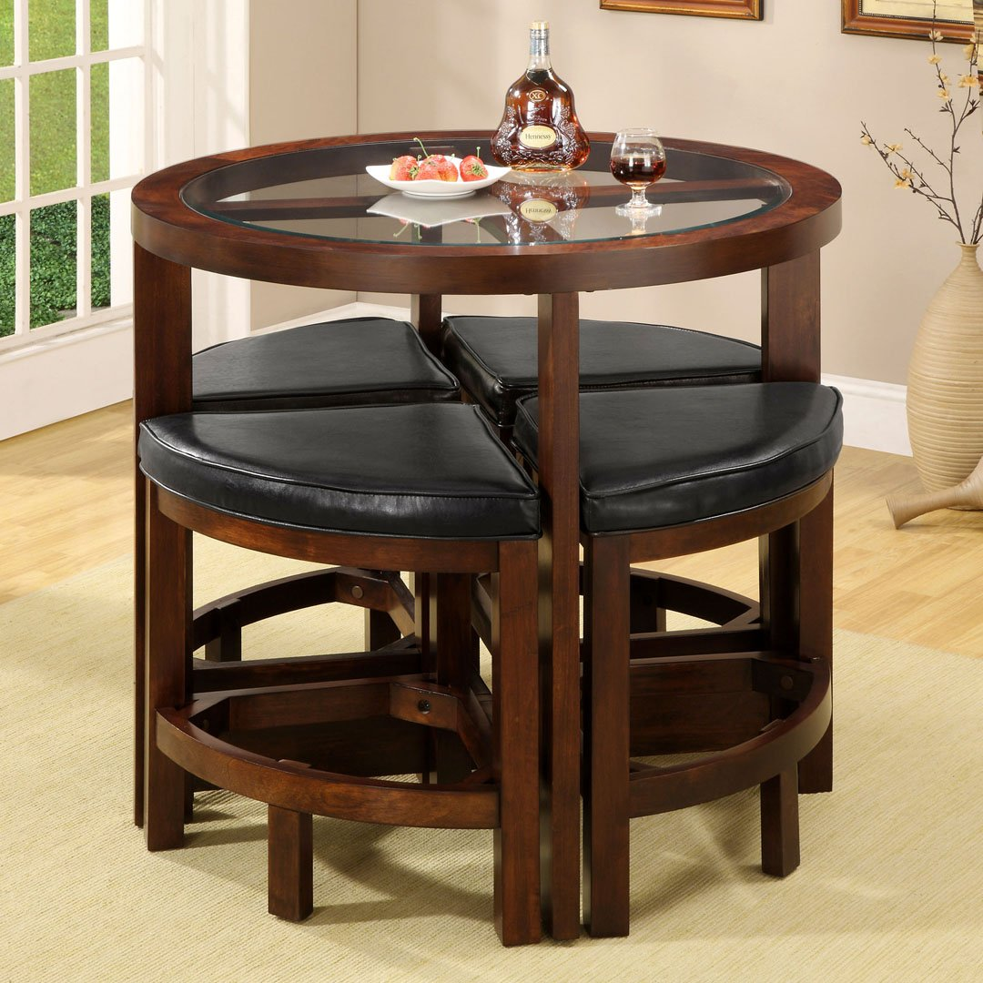 Amazon.com   Crystal Cove Dark Walnut Wood 5 Pieces Glass Top Dining Table  Set By Furniture Of America   Table U0026 Chair Sets