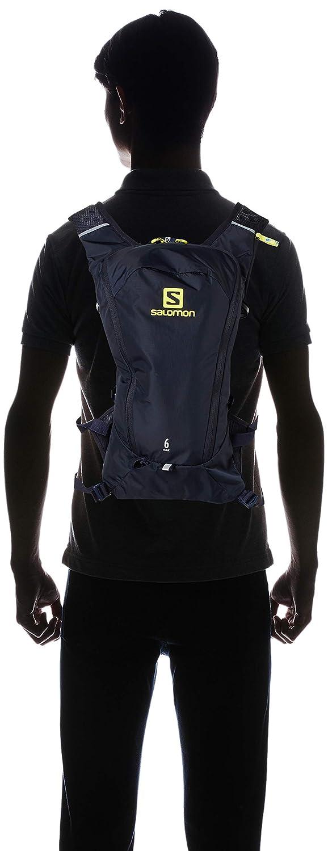 Salomon Mochila ligera de running 6L Night Sky y  verde azul agile 6  set Sulphur Spring