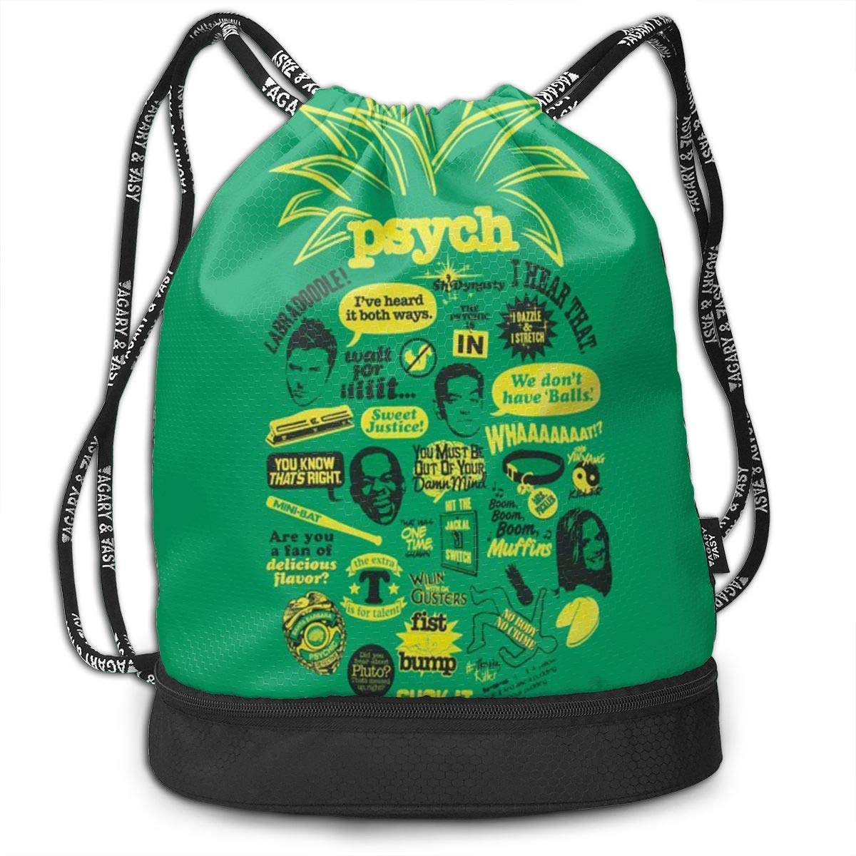 Aeykis Unisex Psych Pineapple Quote Mash Up Drawstring Shoulder Backpack Travel Daypack Gym Bag Waterproof