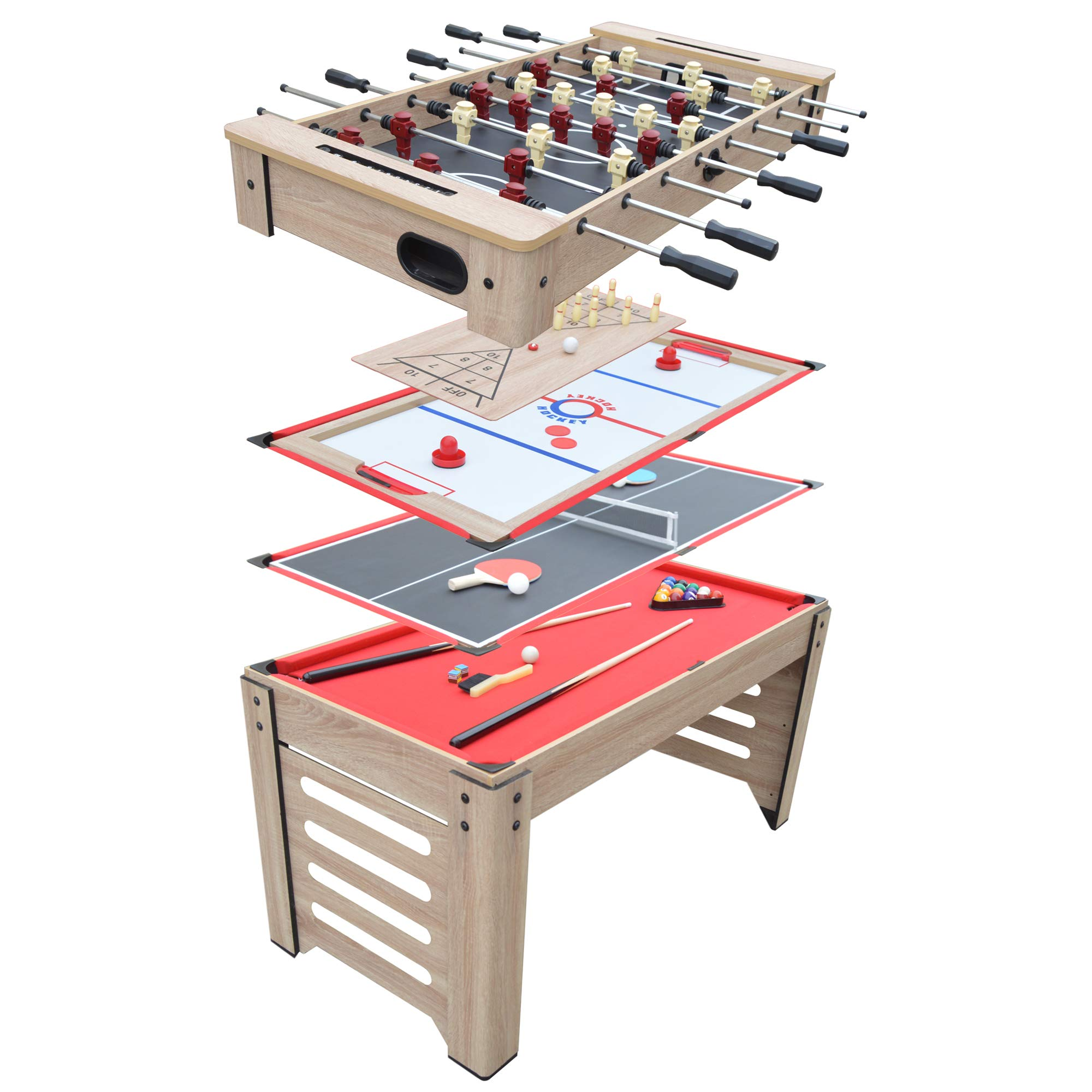 Hathaway Madison 54-in 6-in-1 Multi Game Table, Driftwood by Hathaway