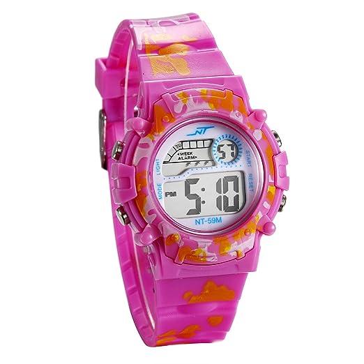 JewelryWe Relojes para Niños Niñas Reloj Deportivo Digital Para Aire Libre Reloj Infantil De Color Violeta Llamativo, Reloj Digital Regalo para Los Reyes: ...